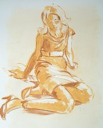 Relaxed. Drawings Prints - Painting of a Young Woman Print by Mike Jory