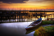 Row Boat Prints - Palaffite port Print by Carlos Caetano