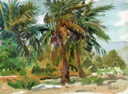 Key West Painting Metal Prints - Palms in Key West Metal Print by Donald Maier