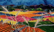 Batik Tapestries - Textiles - Palouse Fields by Carolyn Doe