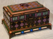 Mixed-media Glass Art - Pandoras Jewel Chest by Robin Miklatek