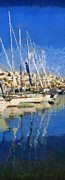 Panoramic Art - Panoramic painting of Mikrolimano port by George Atsametakis