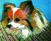 Papillon Dog Paintings - Papillon by Char Swift