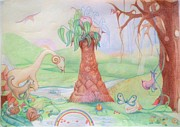 Fruit Trees Drawings - Paradise by Begonha True