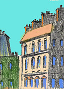 Paris Drawings Posters - Paris Buildings Poster by Charles Zigmund