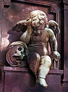 Paris Cemetery - Pere La Chaise - Cherub And Skull Print by Kathy Fornal