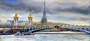 France Pastels Framed Prints - Paris Pont Alexandre III Framed Print by Yuriy  Shevchuk