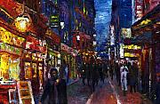Night Light Prints - Paris Quartier Latin 01 Print by Yuriy  Shevchuk