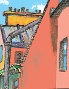 Paris Drawings Posters - Paris Roofs II Poster by Charles Zigmund