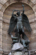 Paris Photography Prints - Paris - Saint Michael - Archangel Statue Monument Print by Kathy Fornal
