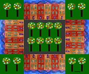 Houses Greeting Cards Prints - Park Print by Patrick J Murphy