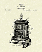 1880s Drawings - Parlor Stove Bascom 1884 Patent Art by Prior Art Design
