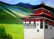 Himalaya Paintings - Paro Dzong by Duygu Kivanc