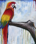 Drips Paintings - Parrot by Taylor Ann Roberts-White
