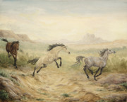 Wild Mustangs Posters - Passing Through Poster by Cathy Cleveland