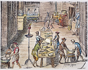 Italian Kitchen Prints - PASTA MAKING, 16th CENTURY Print by Granger