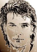 Songwriter Mixed Media Framed Prints - Patrick Swayze in 1989 Framed Print by J McCombie