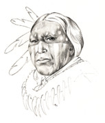 Native Chief Drawings - Patriot by Robert Martinez