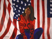 Flags Paintings - Patriotic Thoughts by Sarah Hamilton