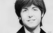 Black Top Drawings Prints - Paul McCartney Print by Dan Lockaby