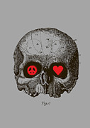 Skull Digital Art - Peace and Love by Budi Satria Kwan