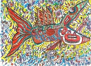 Raw Drawings Posters - Peace Funky Folk Fish Poster by Robert Wolverton Jr