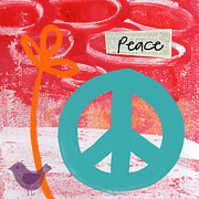 Cheerful Mixed Media Prints - Peace Print by Linda Woods
