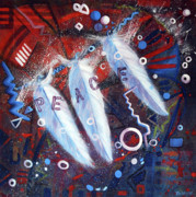 Red White Blue Paintings - Peace by Rosalyn Stevenson