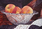 Still-life With Peaches Prints - Peach Delight Print by Claudia Rutherford