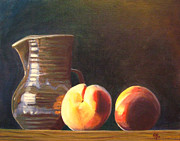 Pottery Pitcher Painting Prints - Peachy Still Life Print by Robie Benve