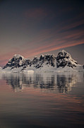 Snow-covered Landscape Prints - Peaks At Sunset Wiencke Island Print by Colin Monteath