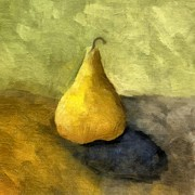 Golden Digital Art - Pear Still Life by Michelle Calkins