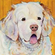 Acrylic Dog Paintings - Pearl by Pat Saunders-White            