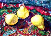 Paisley Blue Fabric Posters - Pears and Paisley Poster by Norma Boeckler