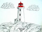 Nova Drawings - Peggys Cove Lighthouse by Frederic Kohli