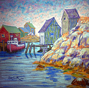 Sheds Pastels Framed Prints - Peggys Cove Framed Print by Rae  Smith PSC