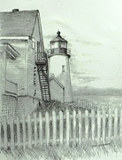 Seacoast  Drawings Metal Prints - Pemaquid lighthouse  Metal Print by Jack Skinner