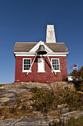 Maine Lighthouses Posters - Pemaquid Point Bell House Poster by John Greim