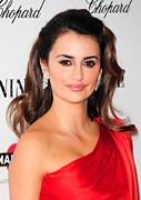 Diamond Earrings Framed Prints - Penelope Cruz Wearing Chopard Earrings Framed Print by Everett
