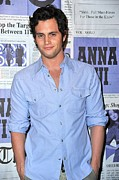 Blue Shirt Framed Prints - Penn Badgley At Arrivals Framed Print by Everett
