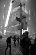 Blizzard New York Prints - People Walking in Times Square during New York Blizzard Print by Rosemary Hawkins