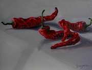 Hot Peppers Painting Originals - Peppers  by Gene Gregorio