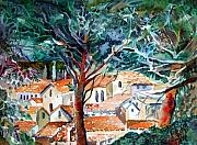 Roof Mixed Media Prints - Perugia Italy Print by Mindy Newman
