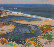 Plein Air Metal Prints - Pescadero Beach Metal Print by Donald Maier
