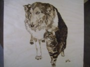 Border Pyrography - Pet Portrait Original Pyrographics by Pigatopia by Shannon Ivins