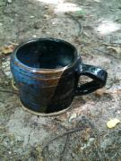 Black Ceramics Metal Prints - Petite Tea Cup Metal Print by Emily Osborne