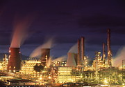 Night Time Lights Posters - Petrochemical Plant Poster by Jeremy Walker