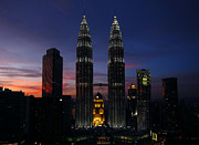 Nightlights Prints - Petronas Towers in KL Malaysia at twilight. Print by Zoe Ferrie
