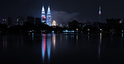Nightlights Prints - Petronas Towers taken from Lake Titiwangsa in KL Malaysia. Print by Zoe Ferrie