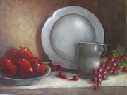 Pewter Paintings - Pewter and Apples by Carole E Raymond